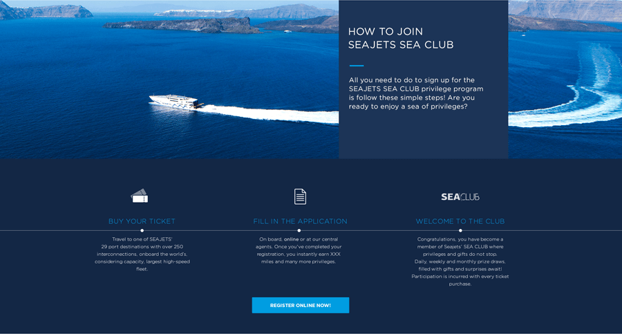 Seajets' website: As fast as a jet, as clear as the Aegean sky
